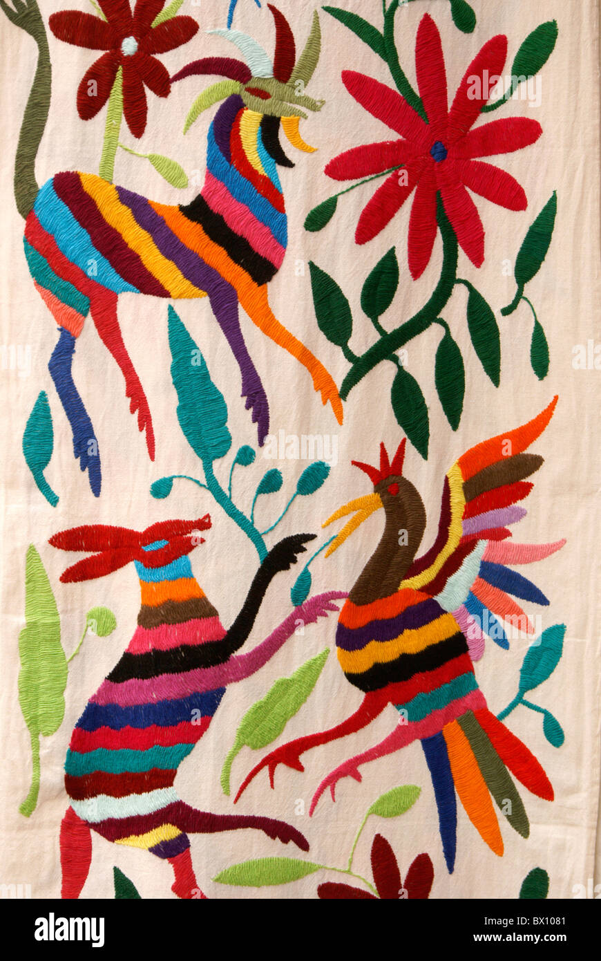 Traditional Embroidery From Otomi Village Of San Pablito Puebla Mexico For Sale In