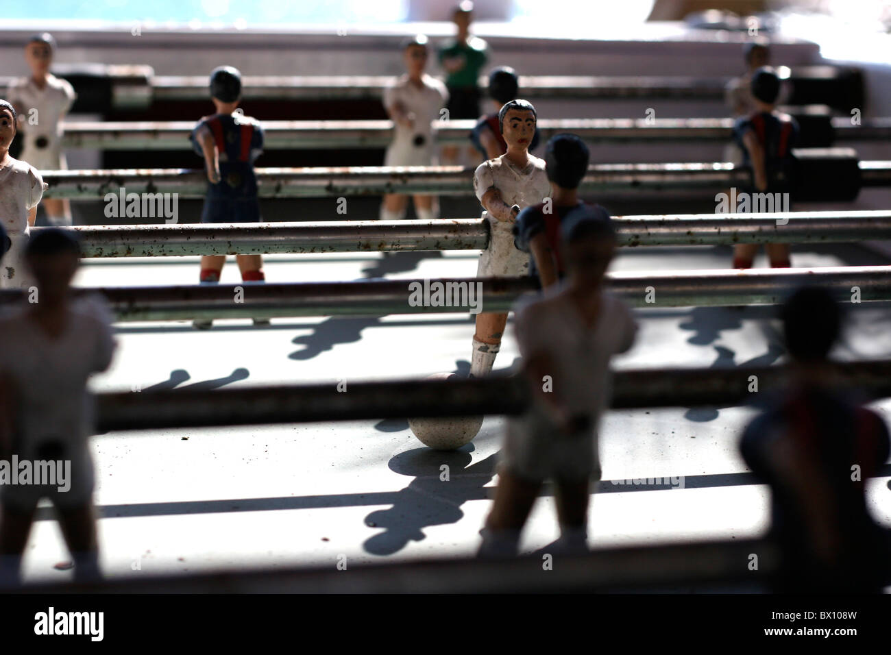 Old table football game played outside - Stock Image