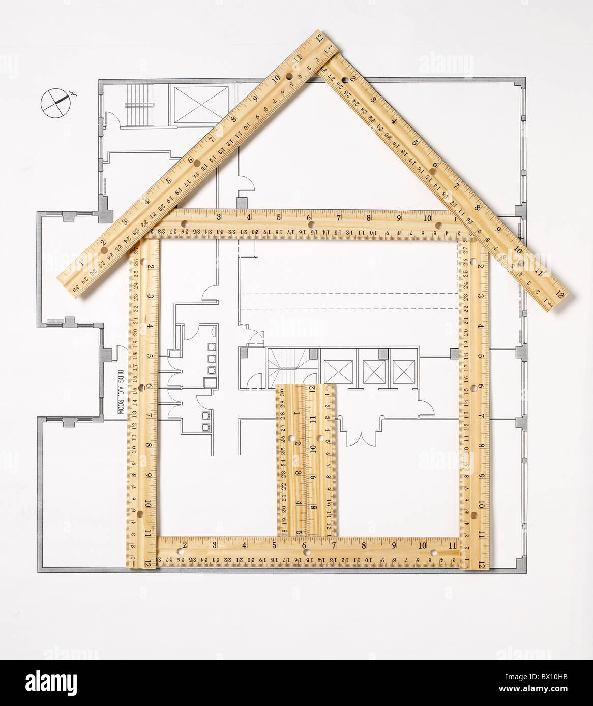 house made of rulers Stock Photo