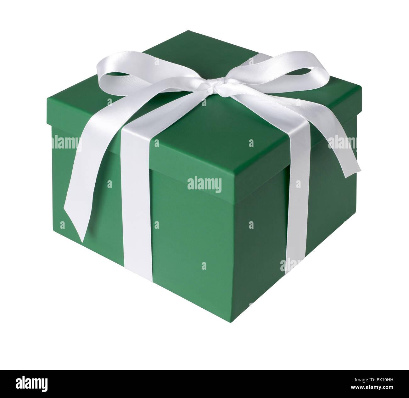 Green gift box - Stock Image