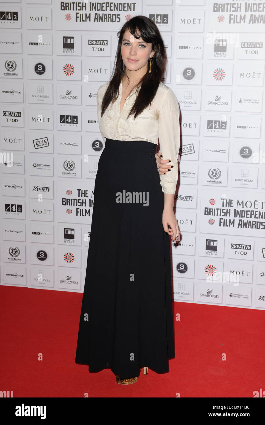 Jessica Brown-Findlay attends the Moet Independent Film Awards, Old Billingsgate Market, London, 5th December 2010. - Stock Image