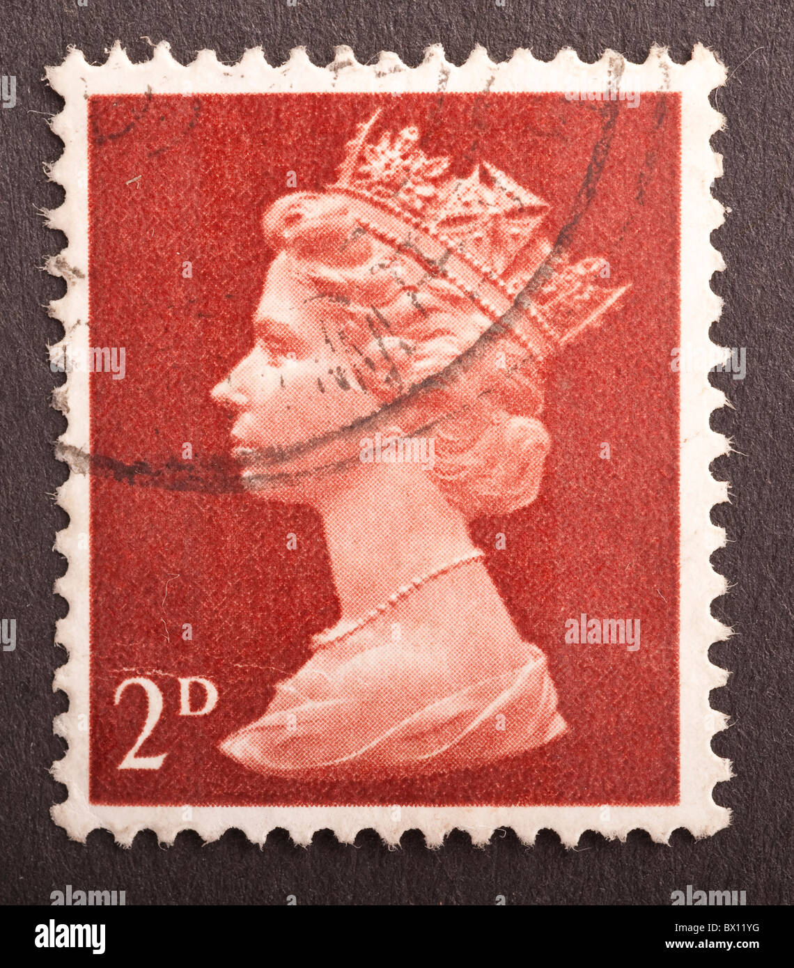 United Kingdom Postage Stamp 2d, Machin - Stock Image