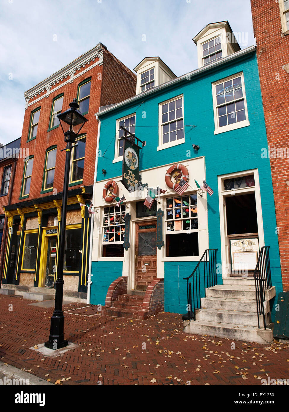 Cats Eye Pub Thames Street Fells Point Baltimore MA - Stock Image
