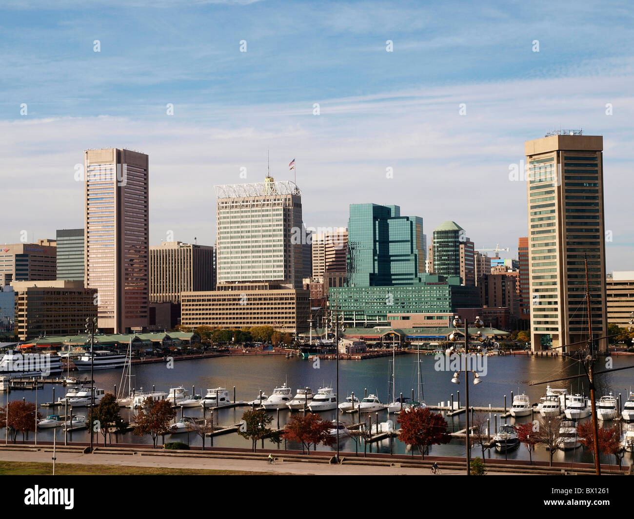 Inner Harbour and Downtown skyline Baltimore MA USA - Stock Image