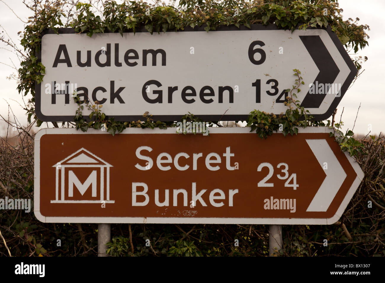 Uk direction road signs to small villages and a Secret Bunker near Nantwich, Cheshire - Stock Image