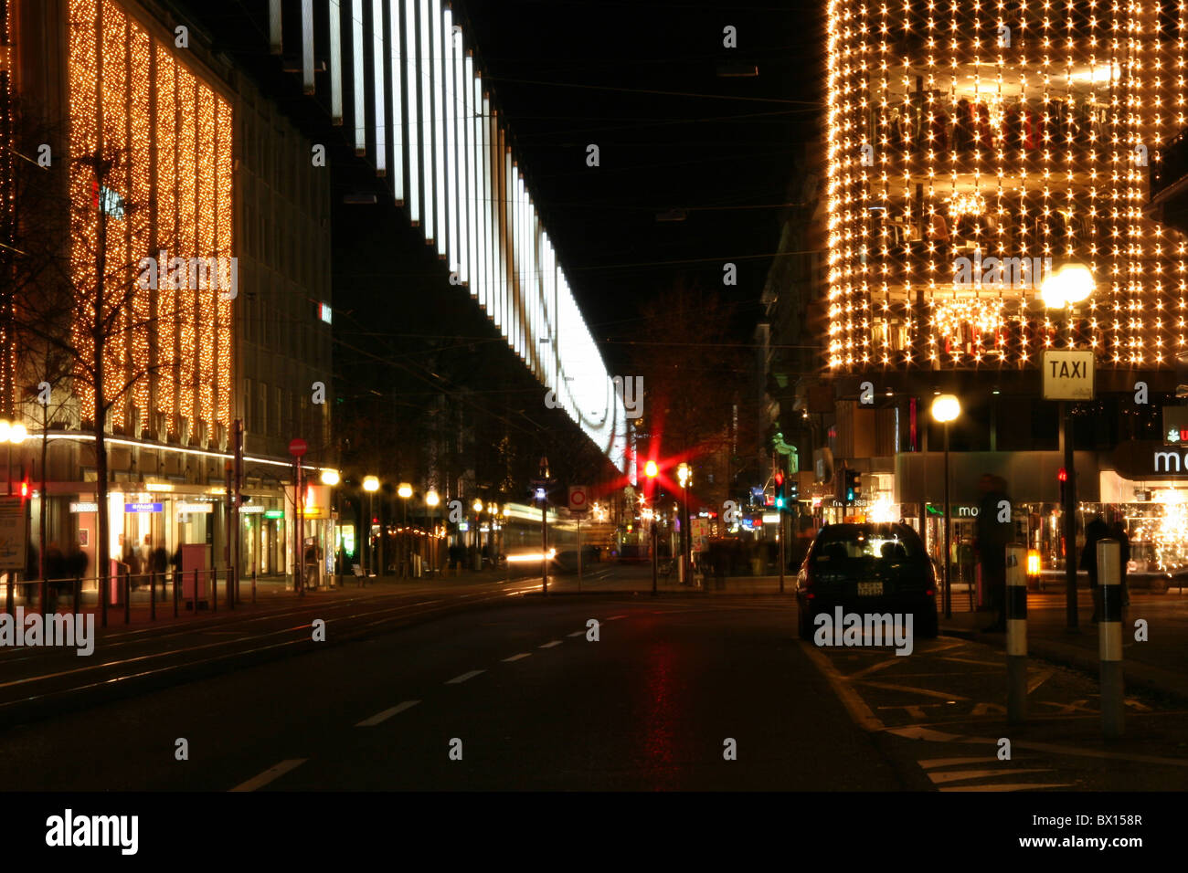 zurich town city christmas bahnhofstrasse at night night business trades stores shopping person lighting