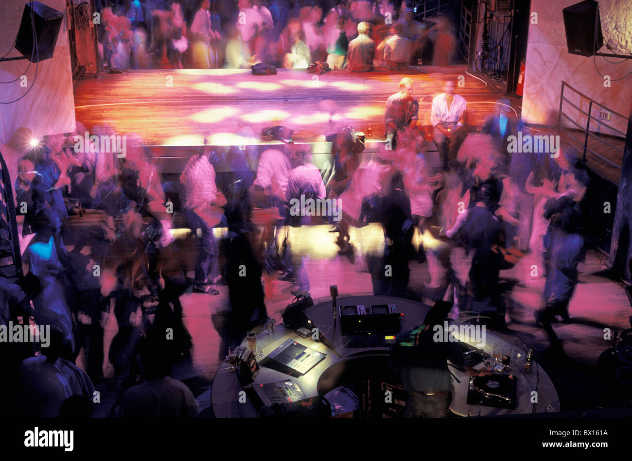 company dance dancing Disco DJ exit guests inside music nightlife no model release party people stage - Stock Image