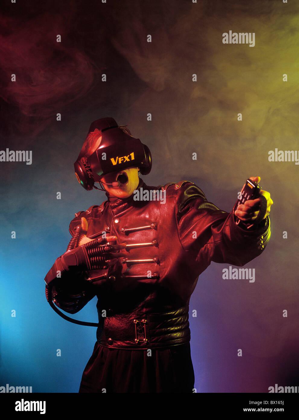 computer Cyberspace digital EDP Electronic Data Procession future glove man mask modern monitor science f - Stock Image