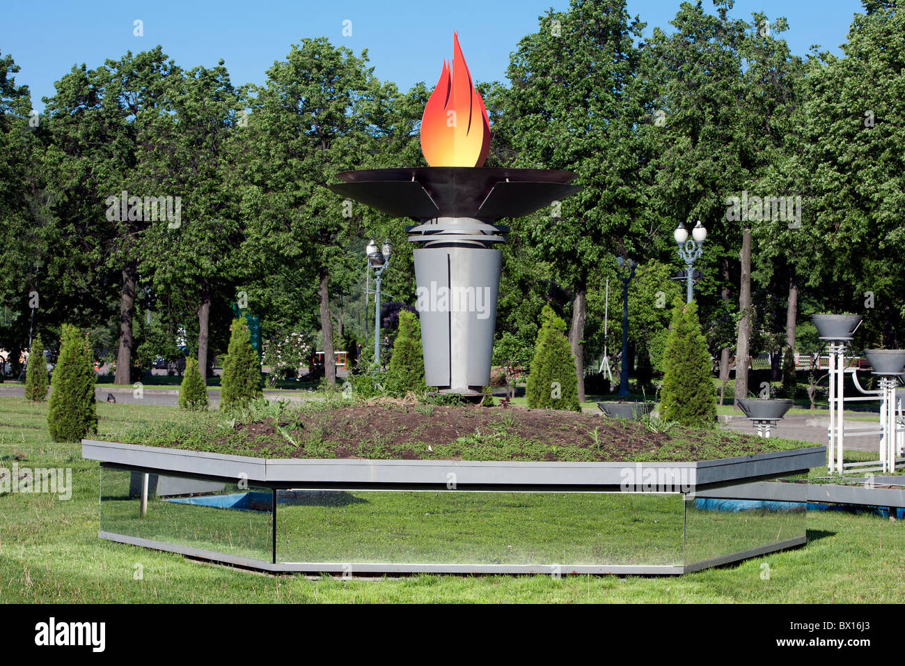 Olympic Flame outside Luzhniki Stadium (chief venue for the 1980 Summer Olympics) in Moscow, Russia - Stock Image