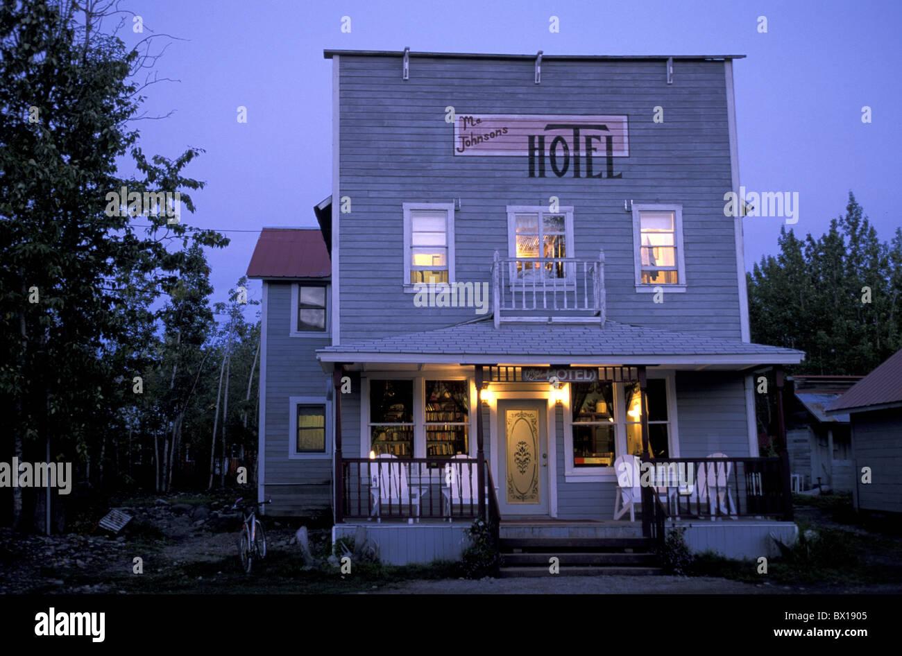 Alaska Ma Johnsons Hotel McCarthy USA America United States tourism twilight facade wood wooden facade ho - Stock Image