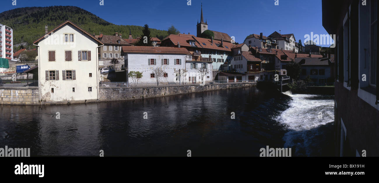 brook stream countries Orbe river small Switzerland Europe town Vallorbe Vaud Jura village - Stock Image