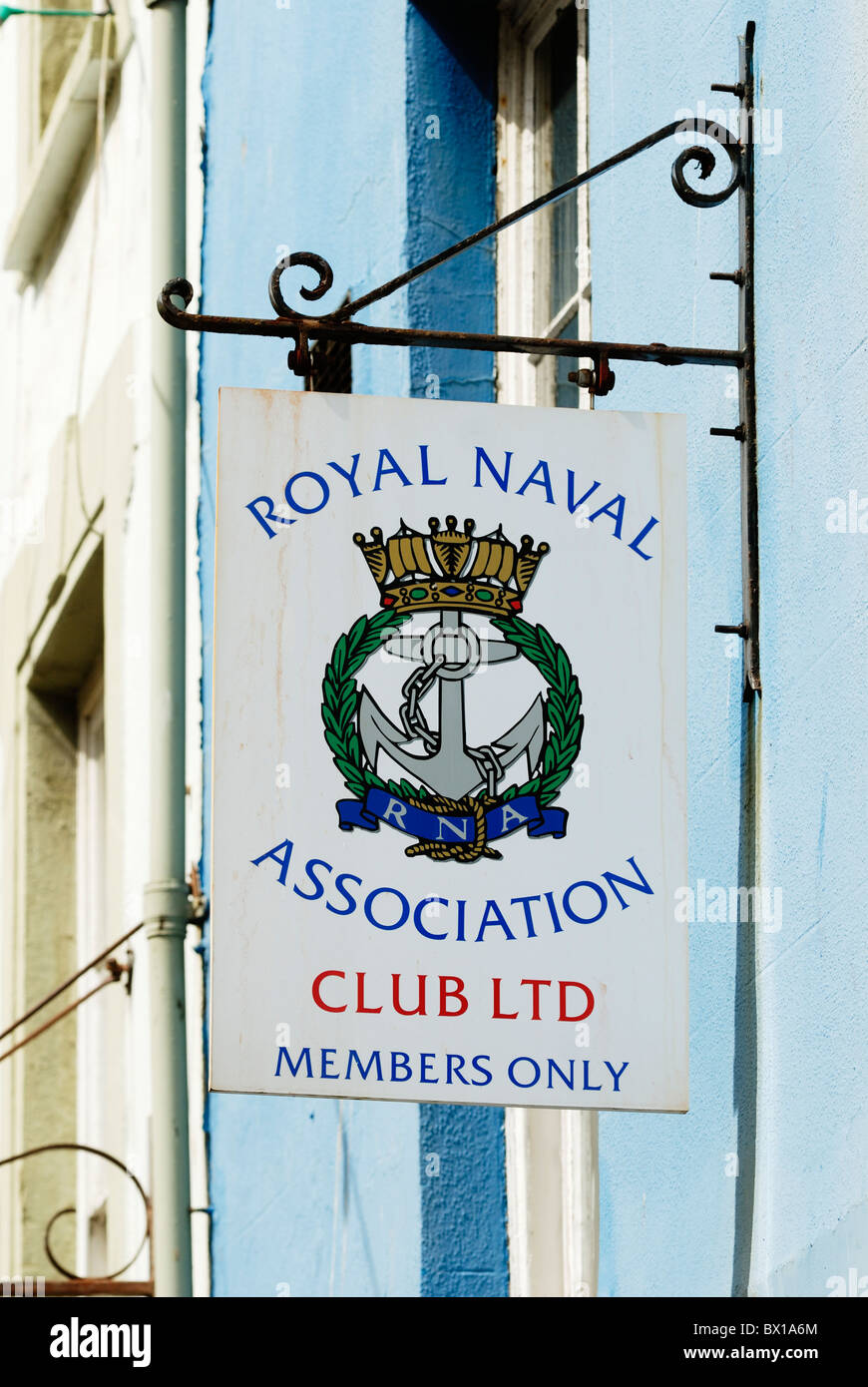 Royal Naval Association Club Ltd, Members Only sign, Aberystwyth, Wales - Stock Image