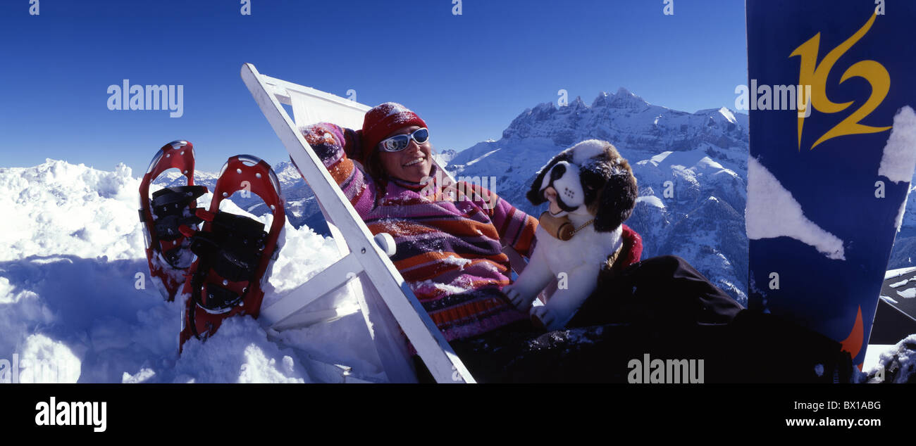 Alps Bernard chair deck dog enjoy free ride holidays Les mountains nature outdoor Les Portes du Soleil - Stock Image