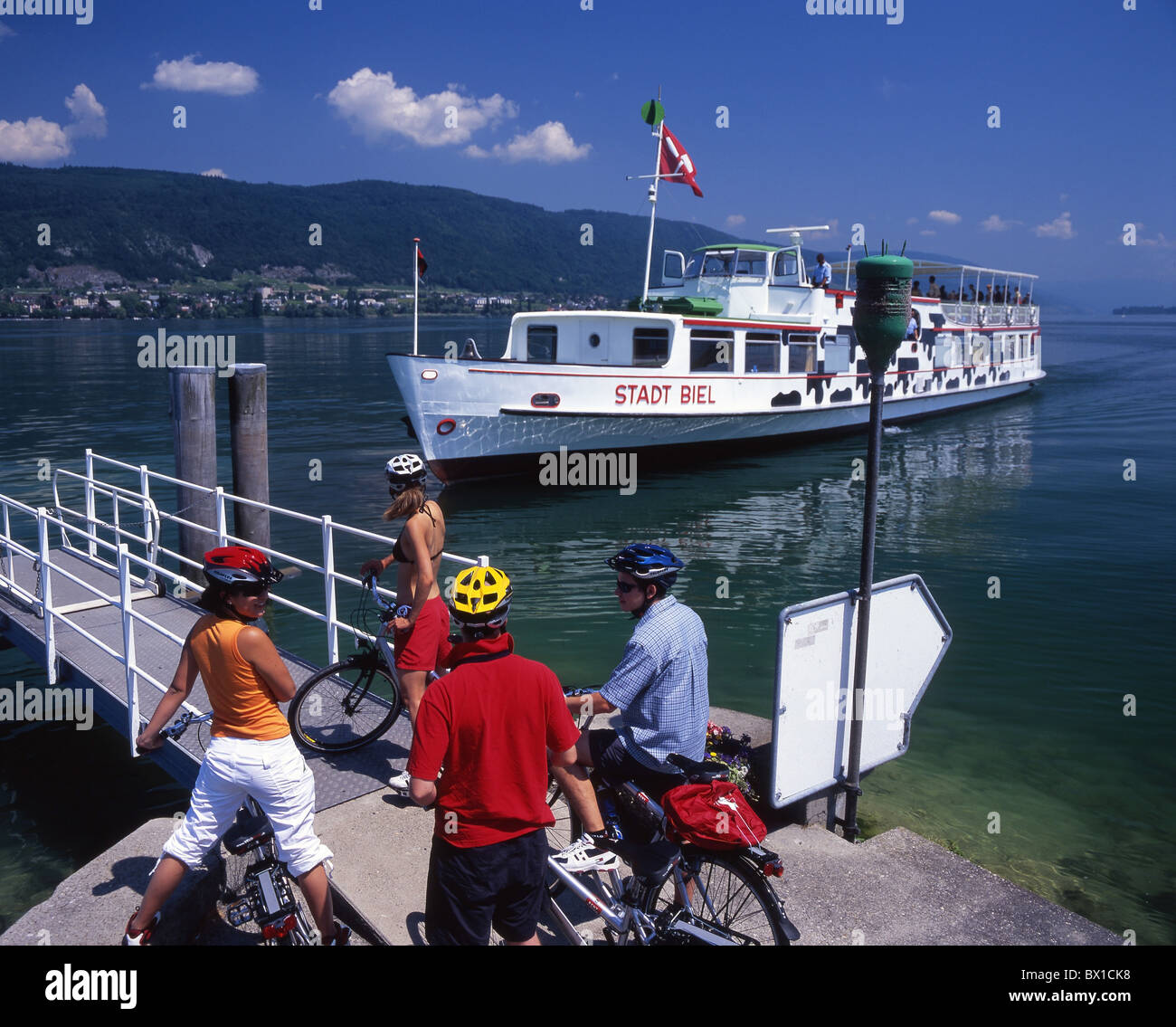 Canton Bern bicycle Bielersee Lake Biel bike canton Erlach excursion group lake lakes scenery landscape - Stock Image