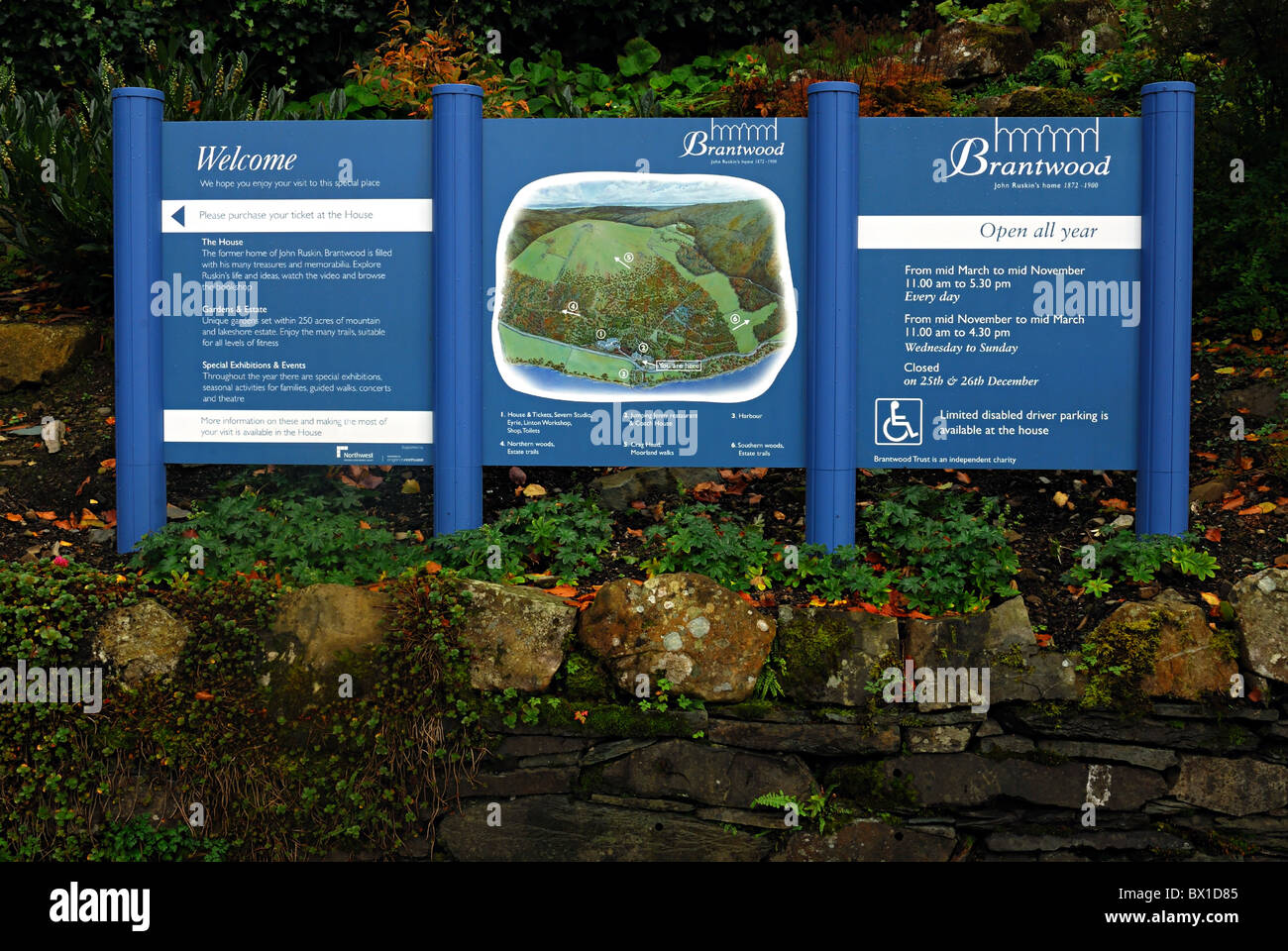Brantwood House Information Board - Stock Image