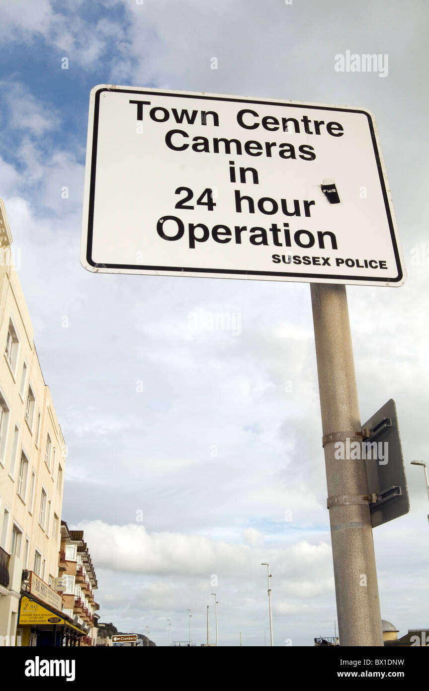 ccvtv camera cameras surveillance closed circuit television tv sign police town center centre sussex observation - Stock Image