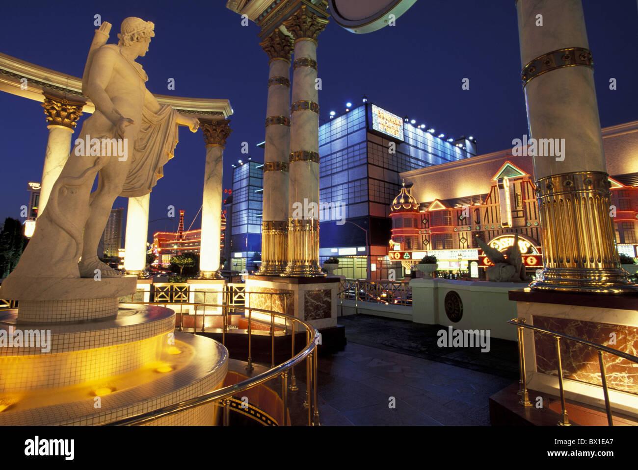 Caesars Palace Las Vegas Nevada USA America United States night sculpture - Stock Image