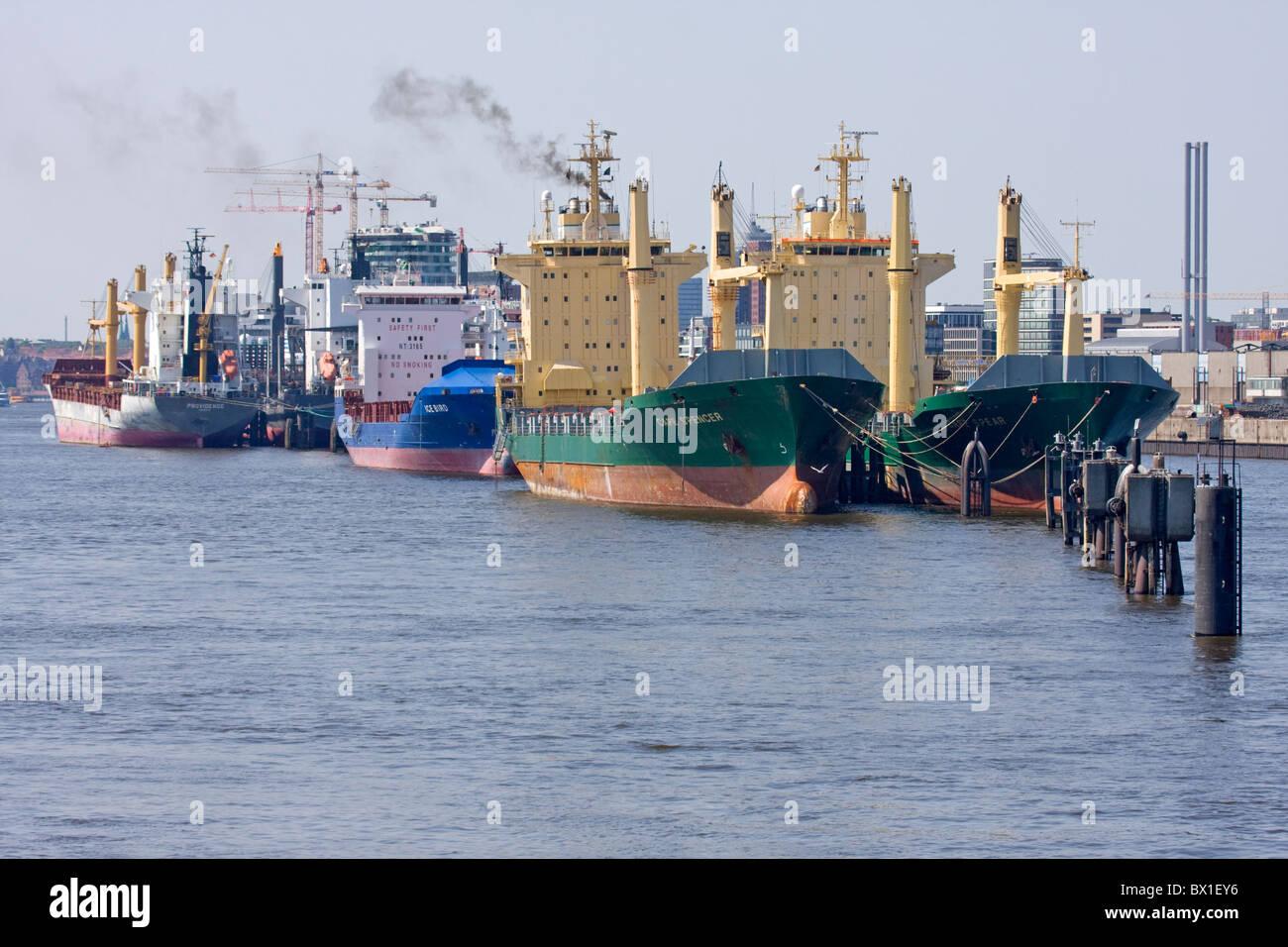 Economical crisis at Hamburg harbor, Germany - Stock Image