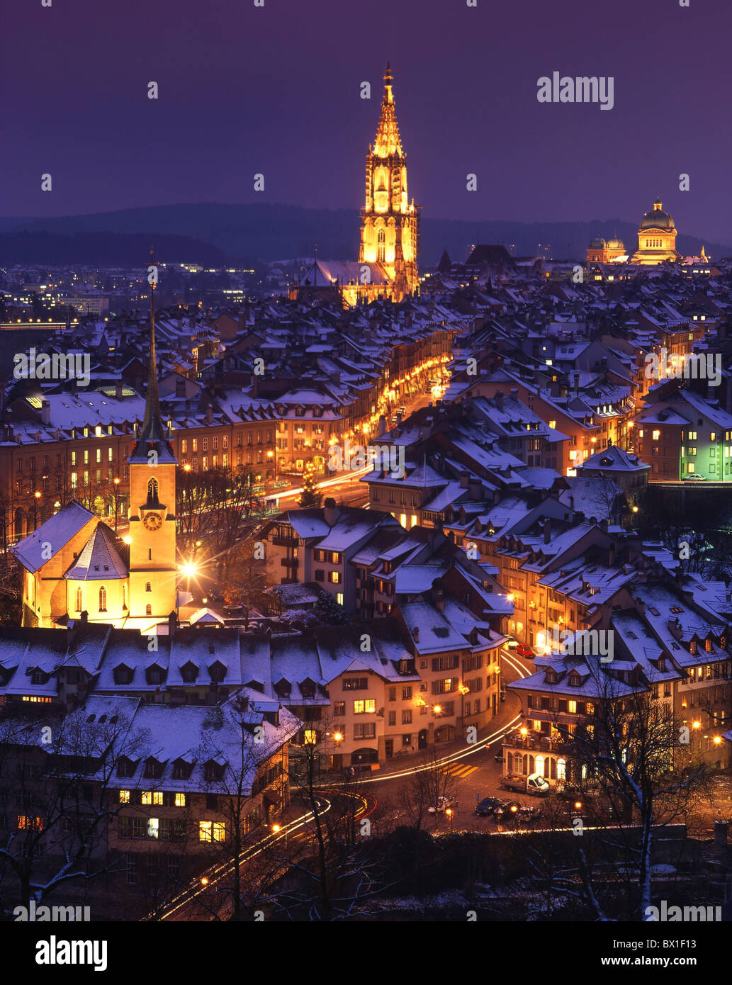 Town City Bern Berne Old Town At Night Night Winter Snow