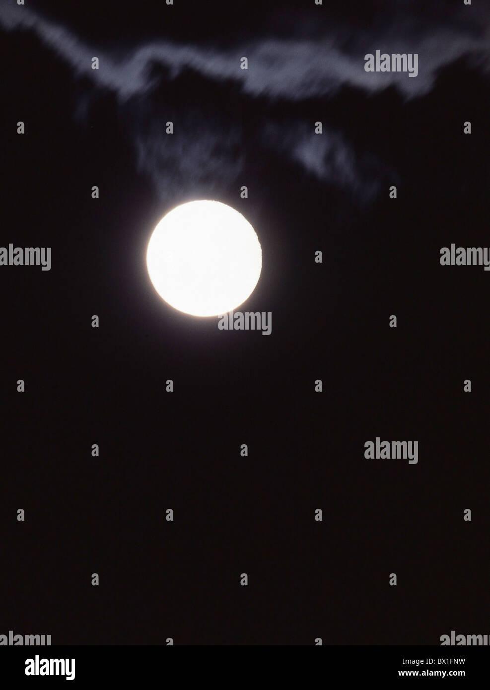 Moon full moon night black sky round - Stock Image
