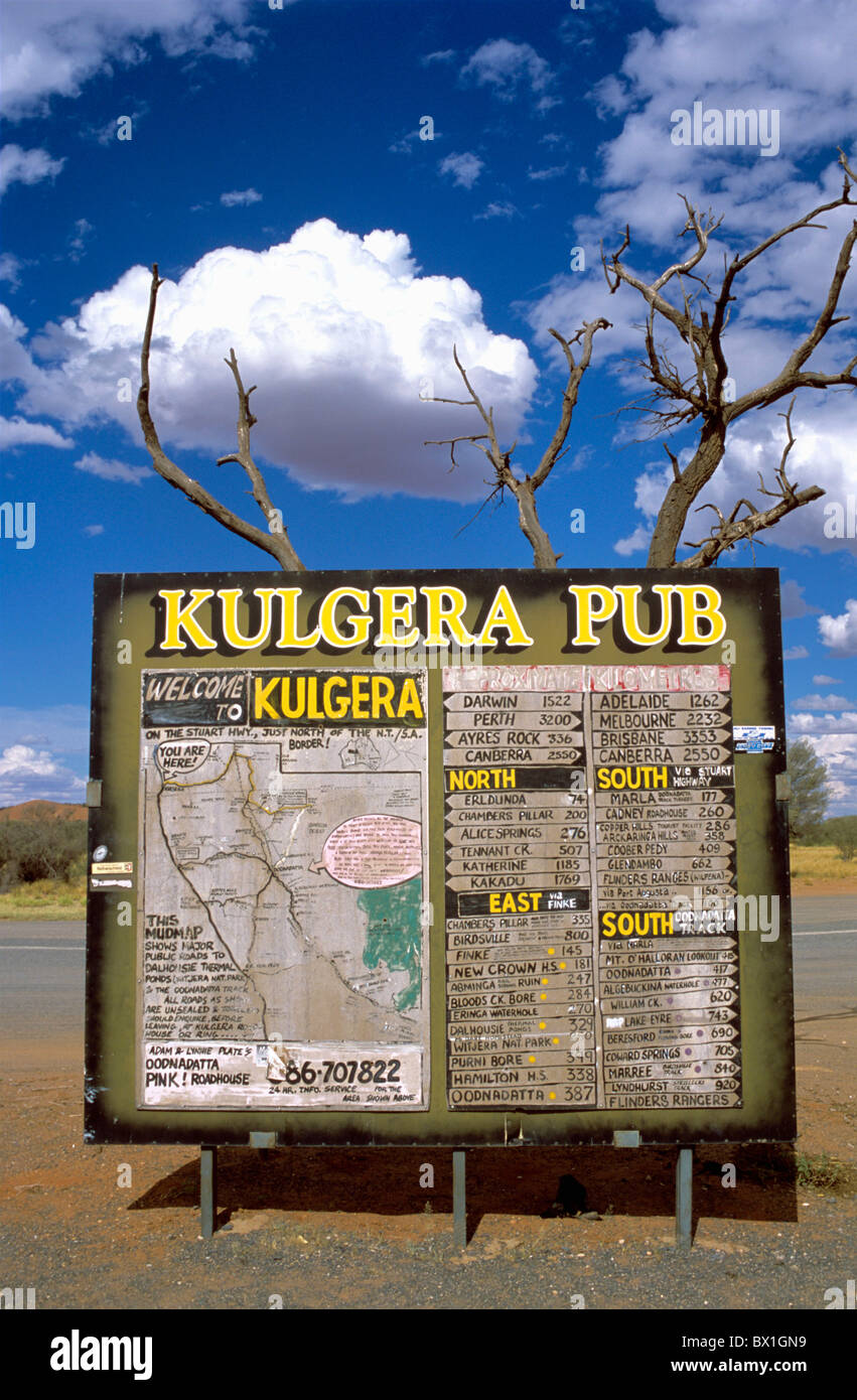 Australia distances information Kulgera roadhouse map navigation Northern Territory Outback sign - Stock Image