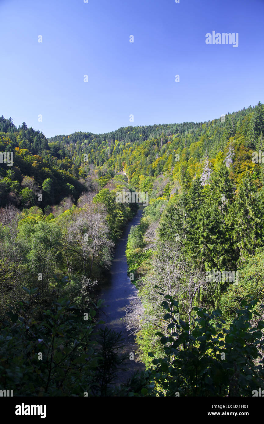 Panoramic view of the Wutachschlucht (Wutach Canyon) in the Black FOrrest, Germany - Stock Image