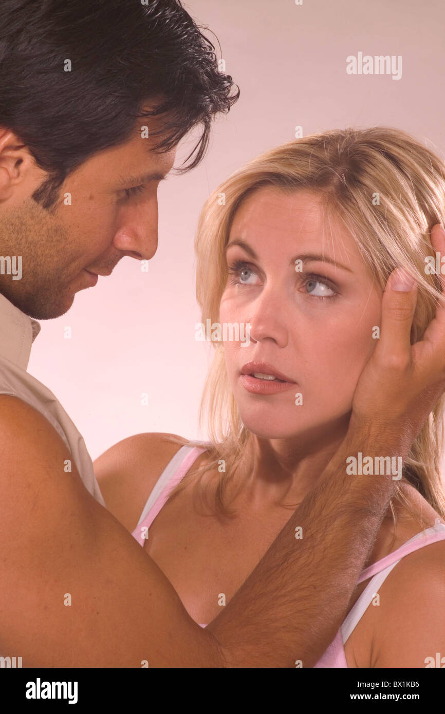 affectionate Couple portrait position situation studio tenderness - Stock Image