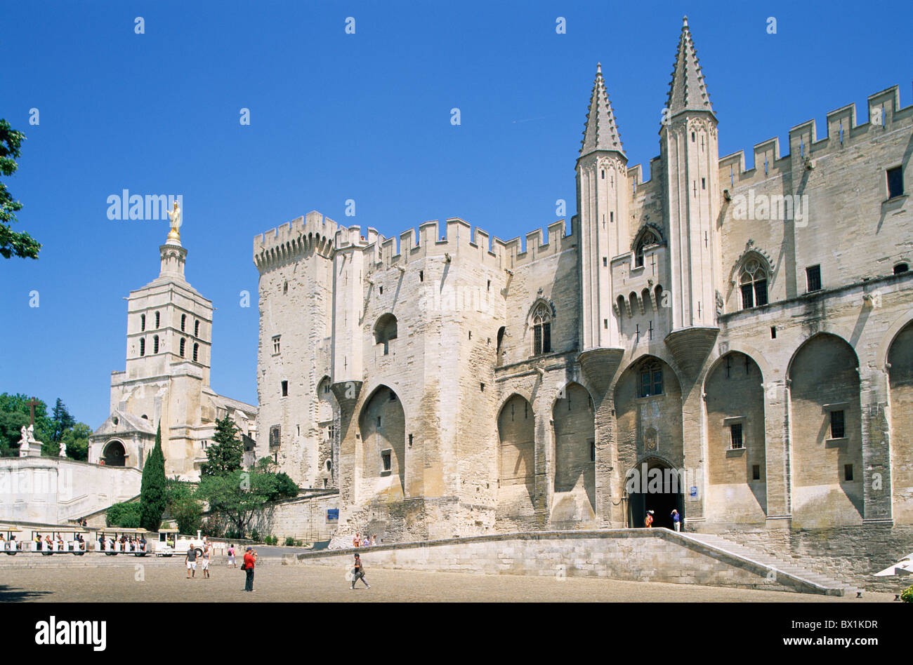 14th Century Architecture Avignon France Europe Gothic La Place Du Palais Middle Ages Palace Square Palais - Stock Image