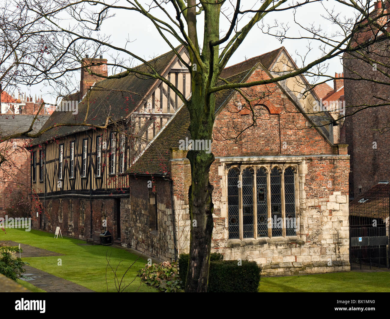 Merchant Adventurers' Hall, seen from Piccadilly, City of York, Yorkshire, UK - Stock Image