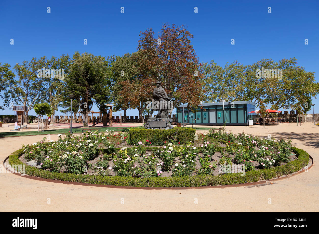 Memorial to the victims of the First World War (the Great War) in Portas do Sol Garden. Santarém, Portugal. - Stock Image