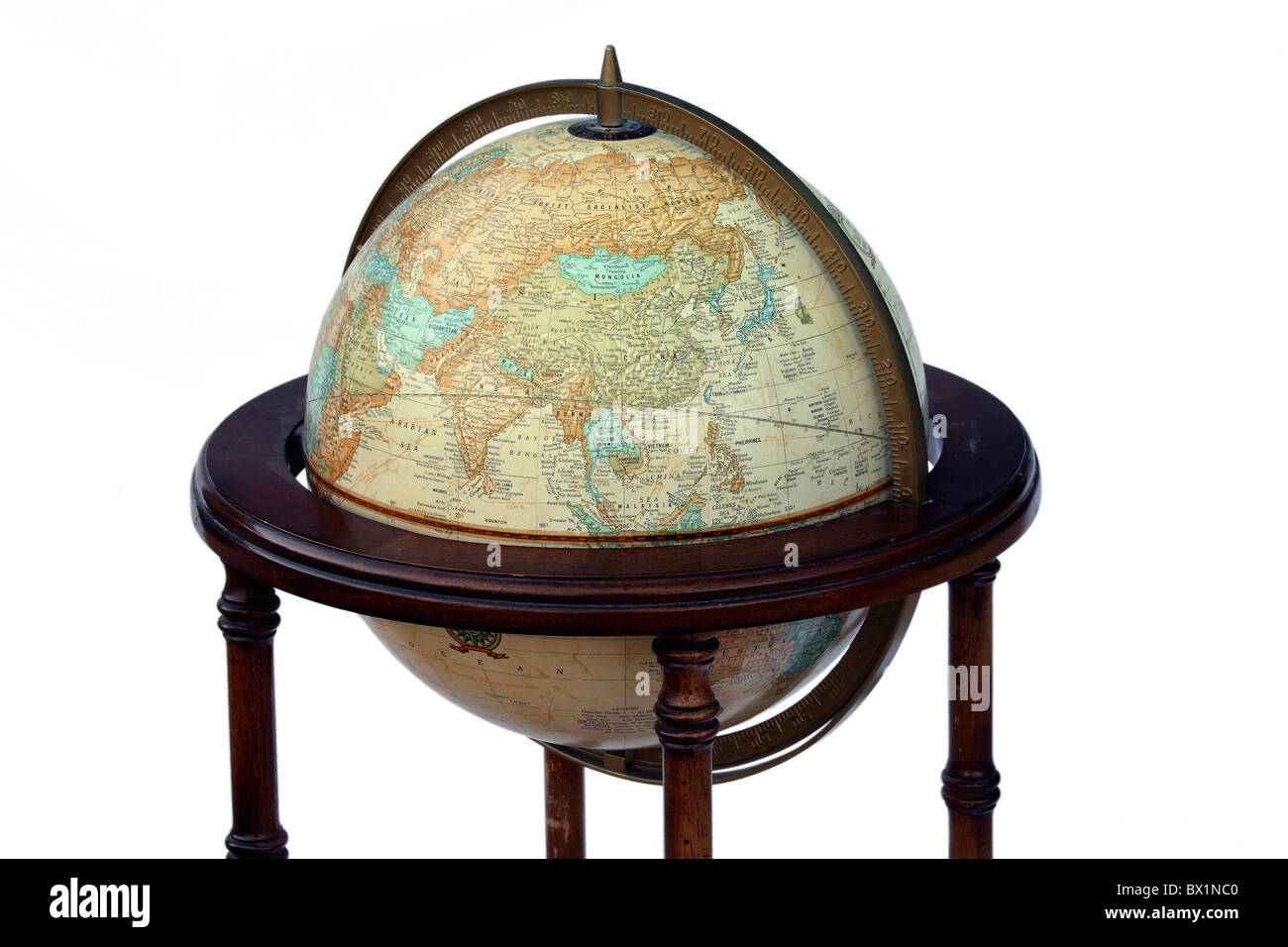 Globe globe map of world geography round countries coordinates - Stock Image