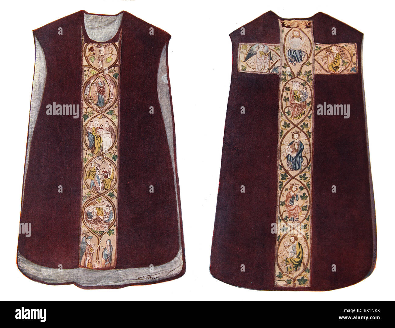 An English Chasuble or Vestment worn by a priest during Mass, circa 1300 - Stock Image