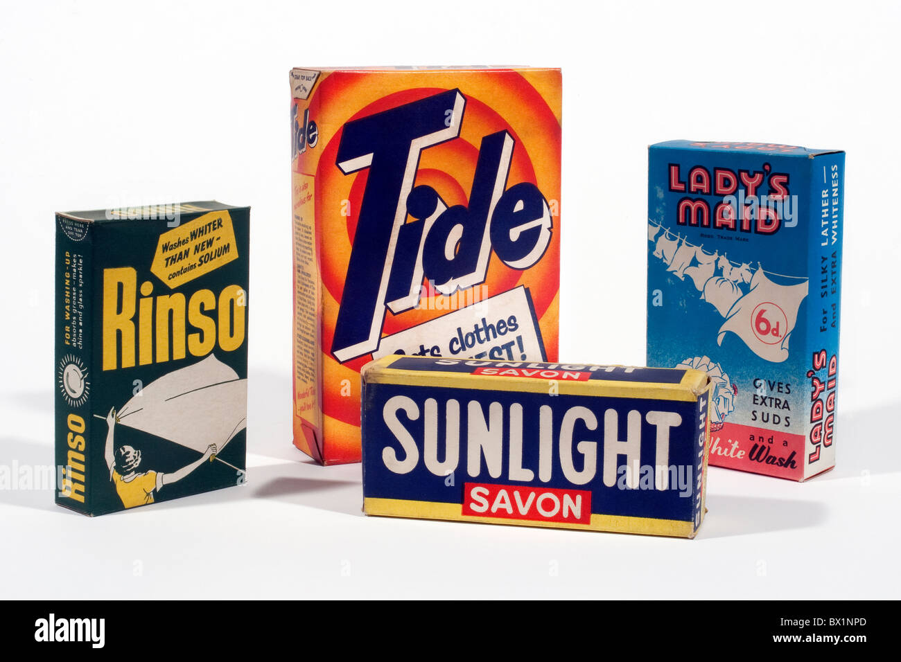 Old boxes of soap washing powders - Stock Image