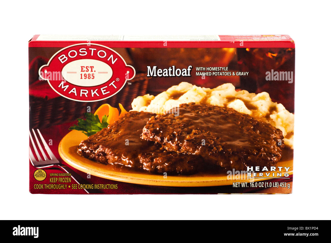 Boston Market Meatloaf and Mashed Potatoes frozen ready meal, USA - Stock Image