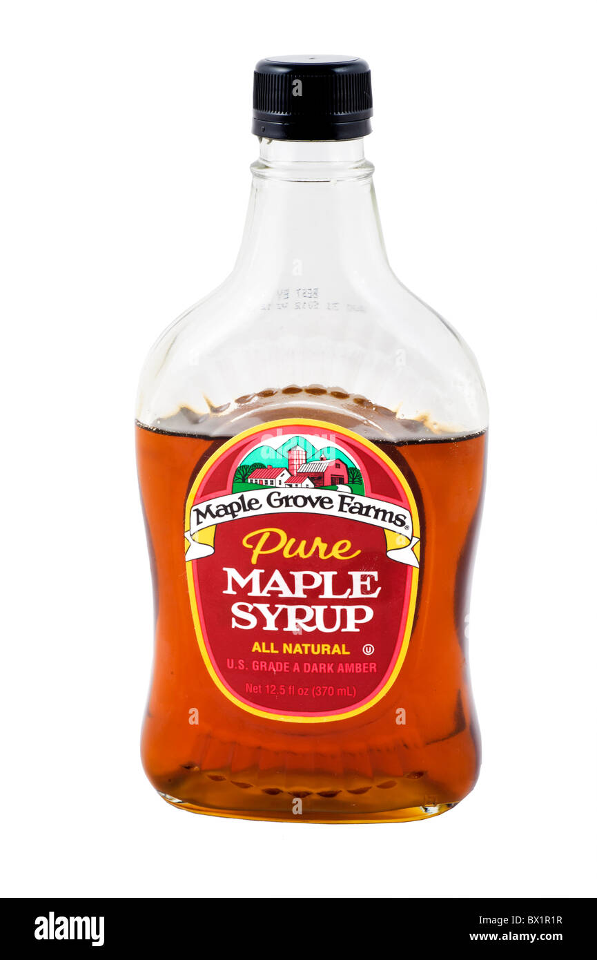 Bottle of Maple Grove Farms pure natural Maple Syrup, USA - Stock Image