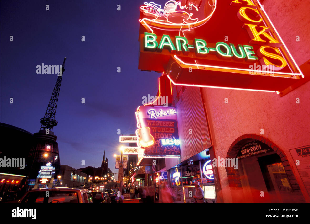advertisements at night bar Broadway business club Downtown exit Nashville neon neon lights night nightl - Stock Image
