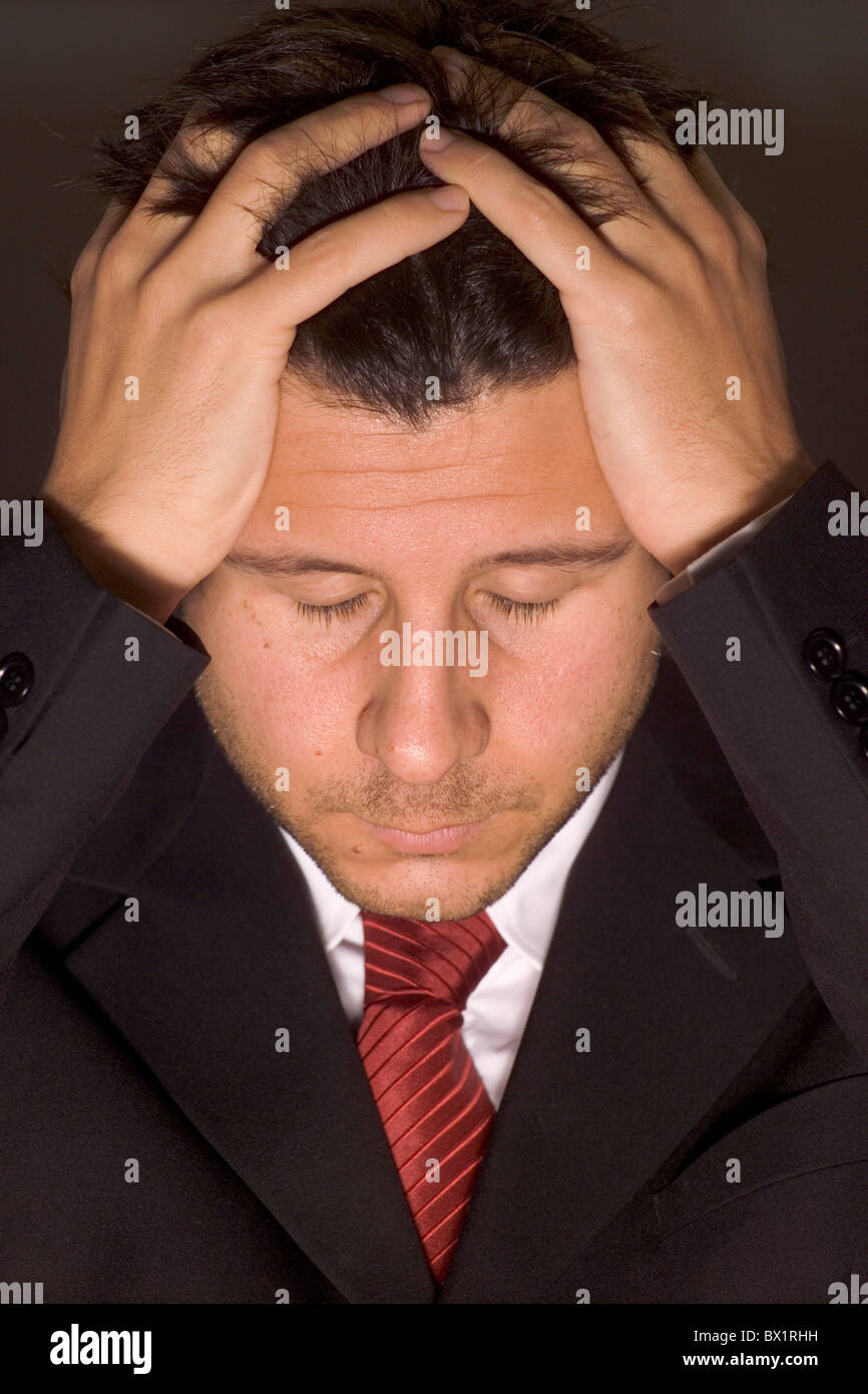 Business businessman defeat despair desperation gesture loss man manager portrait problem problematical - Stock Image