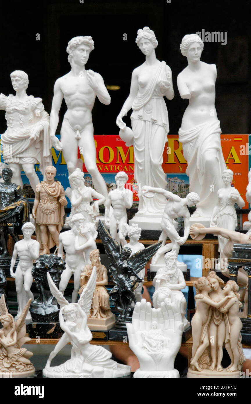 books business copies figures holidays Italy Europe loading memory Roman Rome sculptures small presents - Stock Image