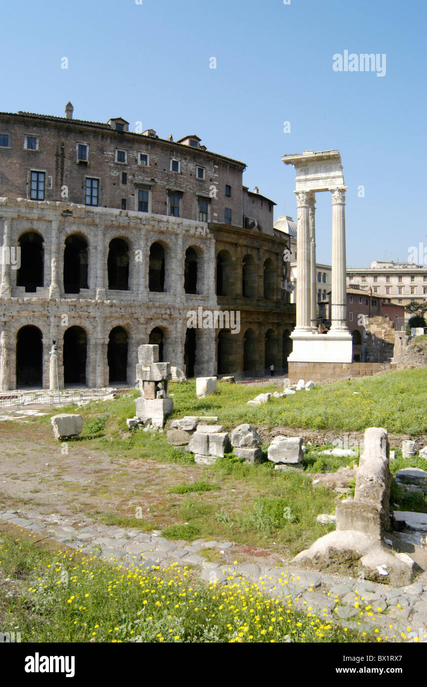 antique antiquity columns excavations Italy Europe Roman Romans Rome ruins - Stock Image
