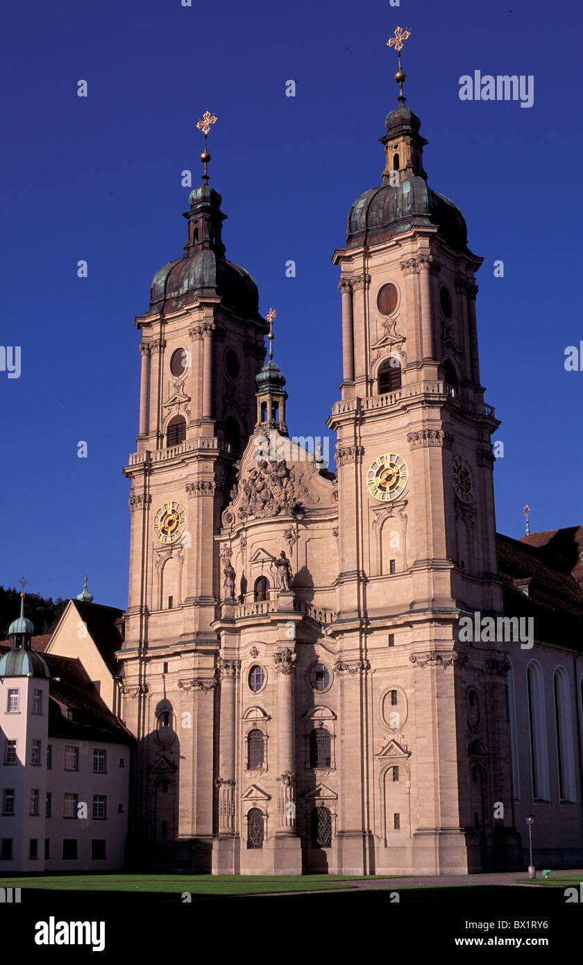 cathedral city collegiate church St. Gallen Switzerland Europe town UNESCO world cultural heritage - Stock Image