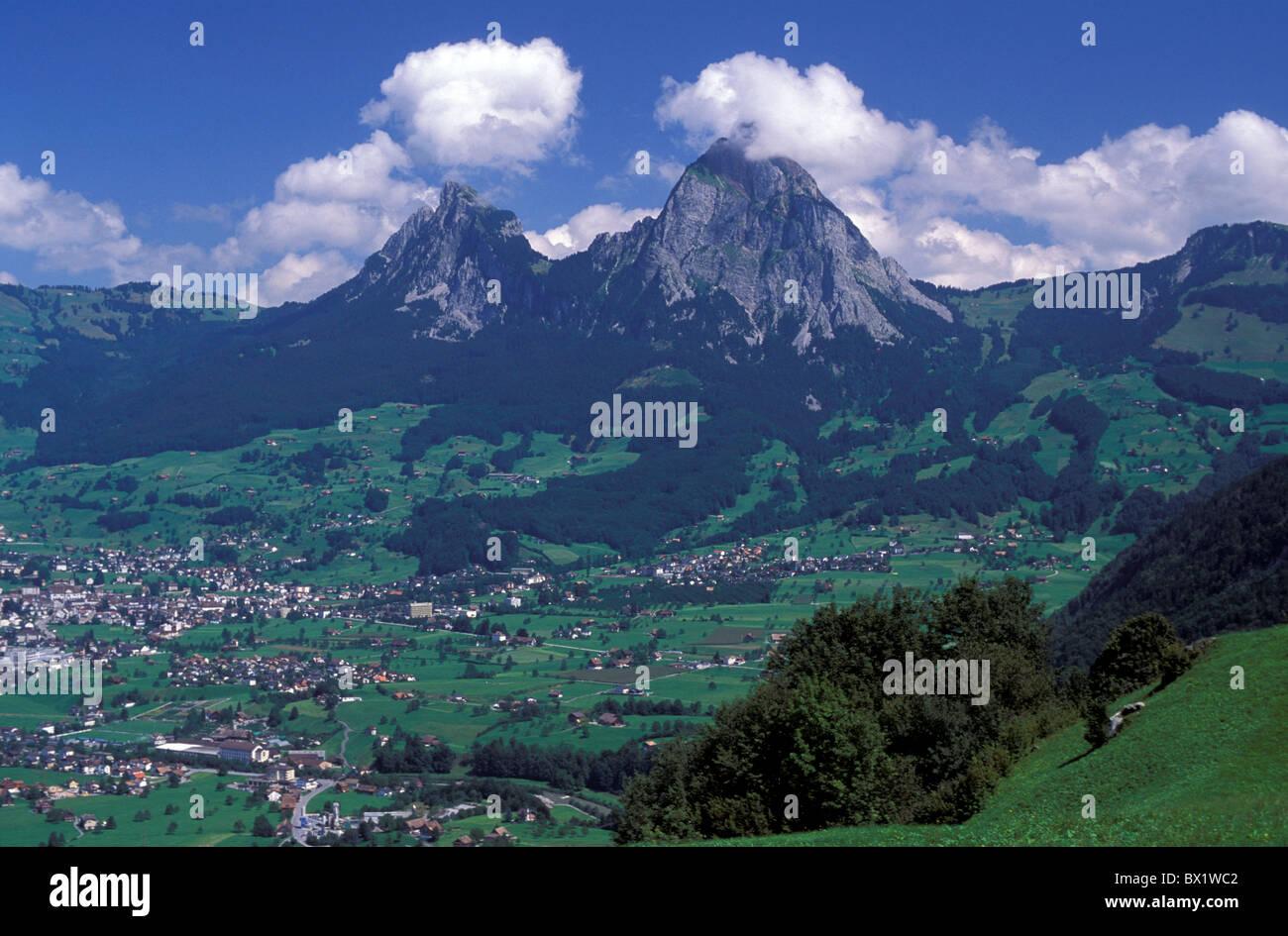 central Switzerland Europe mountains myths scenery landscape Schwyz village Switzerland Europe - Stock Image