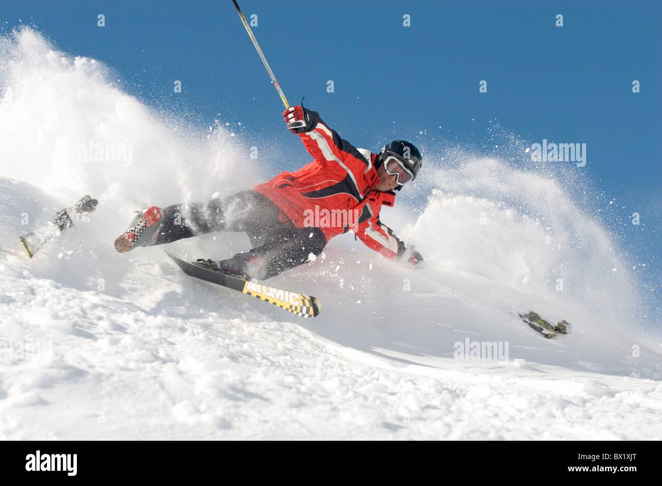 Skiing accident stock photos