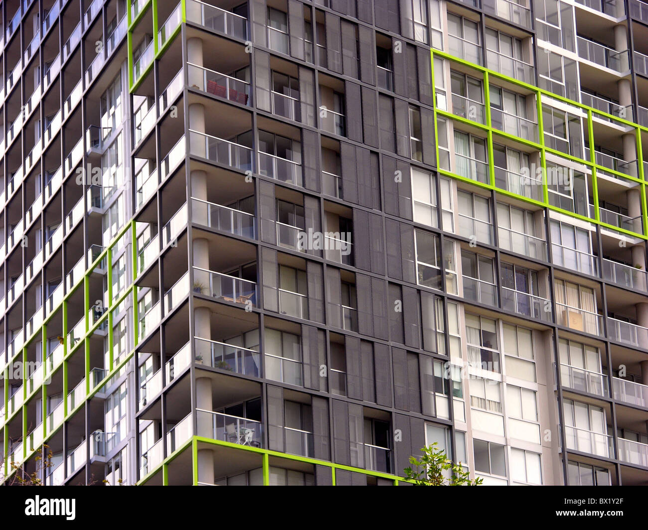 highrise towerblock multistory High-rise building floors floors apartments residential block facade living - Stock Image