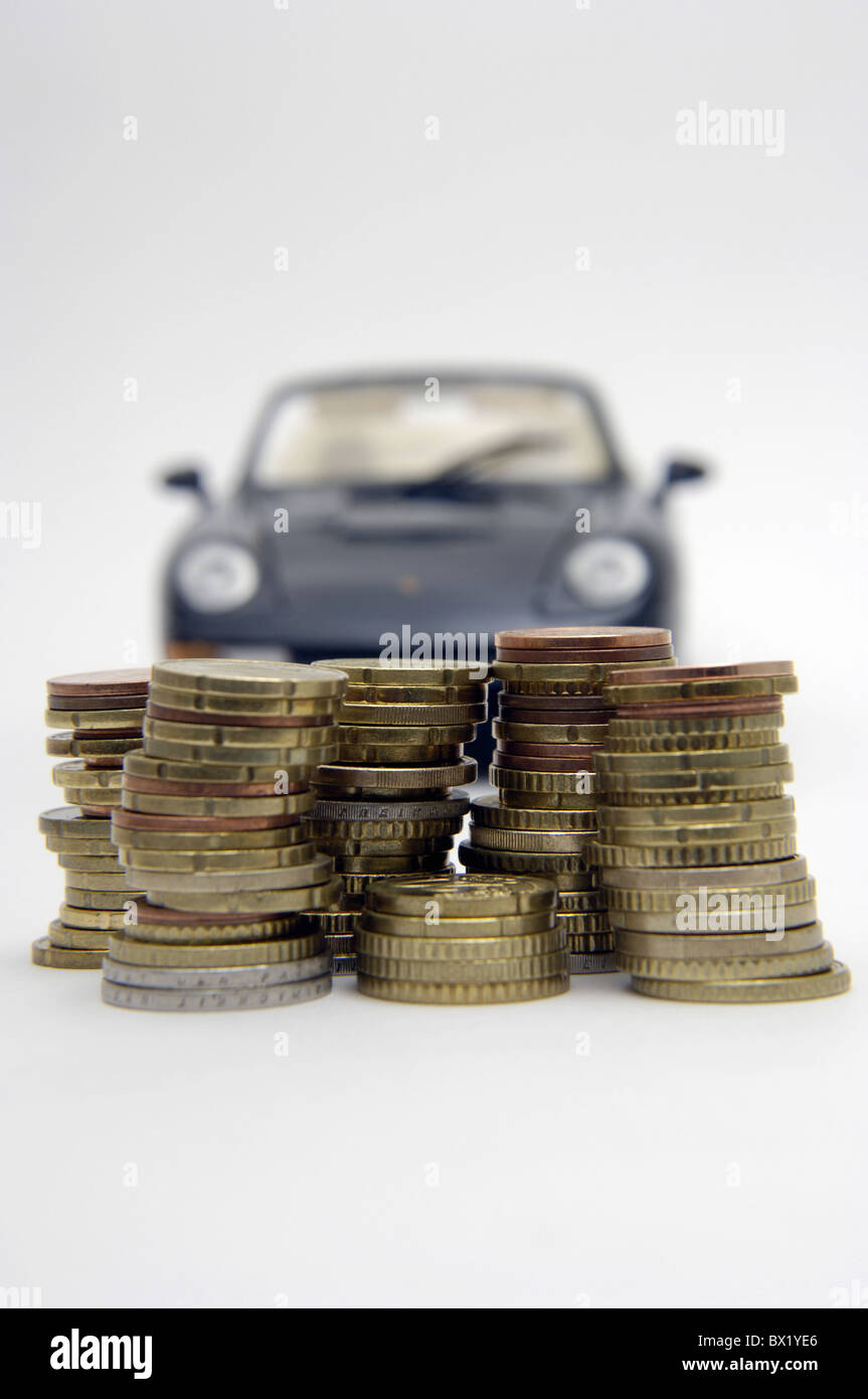 Car Automobile passenger car dream car saving money coins empire dreams stinginess savings invest status q Stock Photo