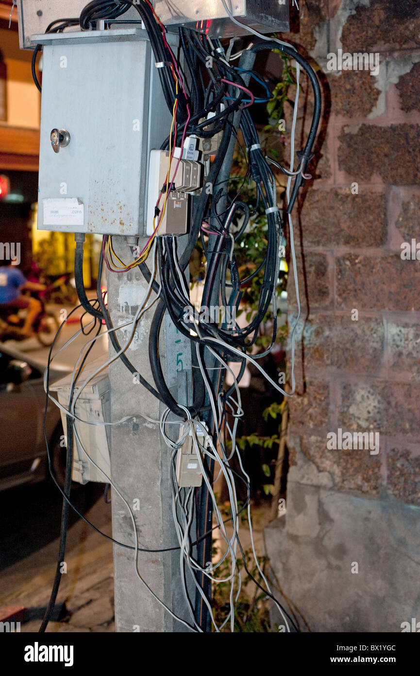 Junction Box Wiring Stock Photos Images Electrical Electricity On A Street In Chiang Mai Thailand Photo By Gordon Scammell