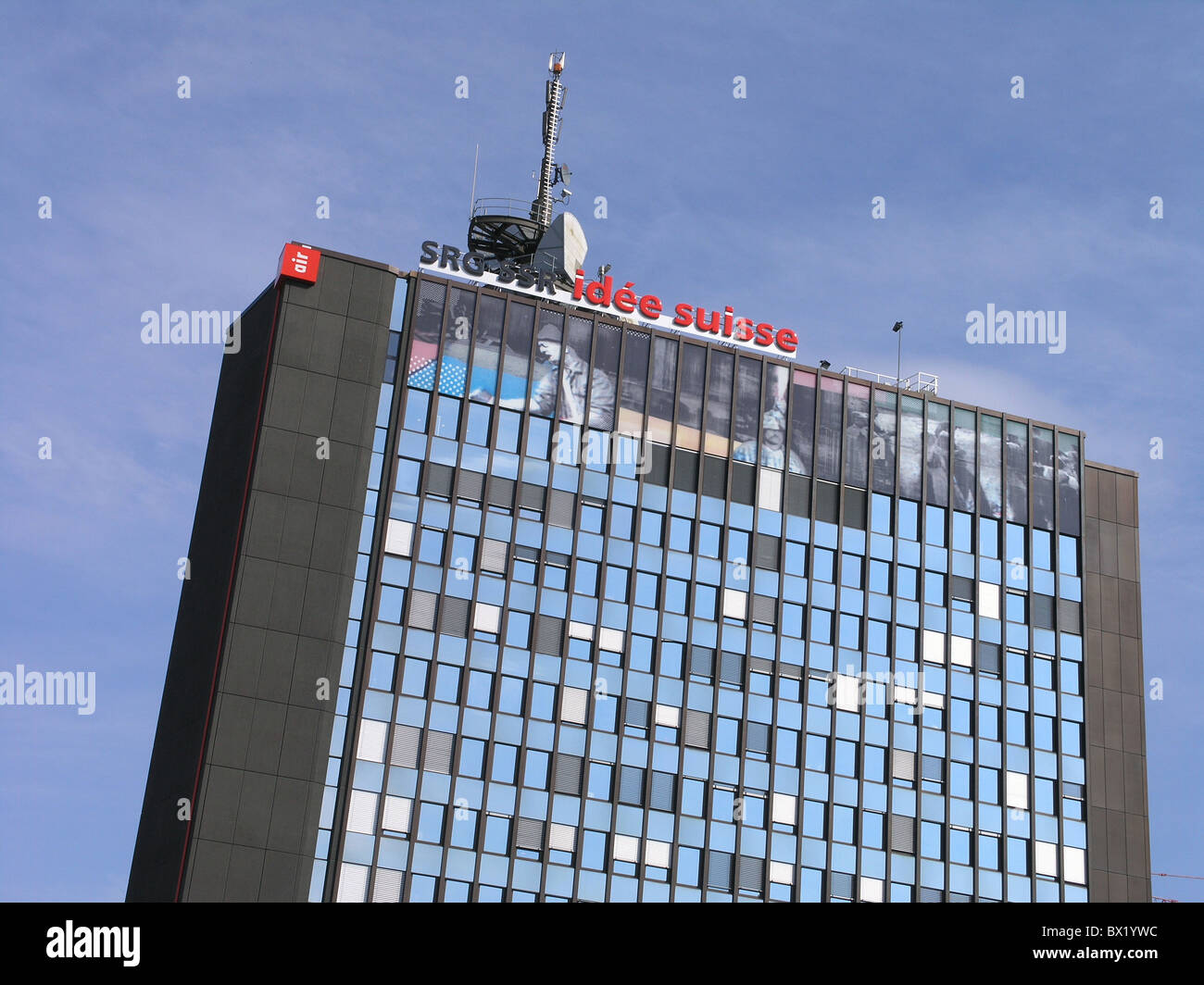 highrise towerblock multistory building communication construction High-rise building media radio SRG Swis - Stock Image