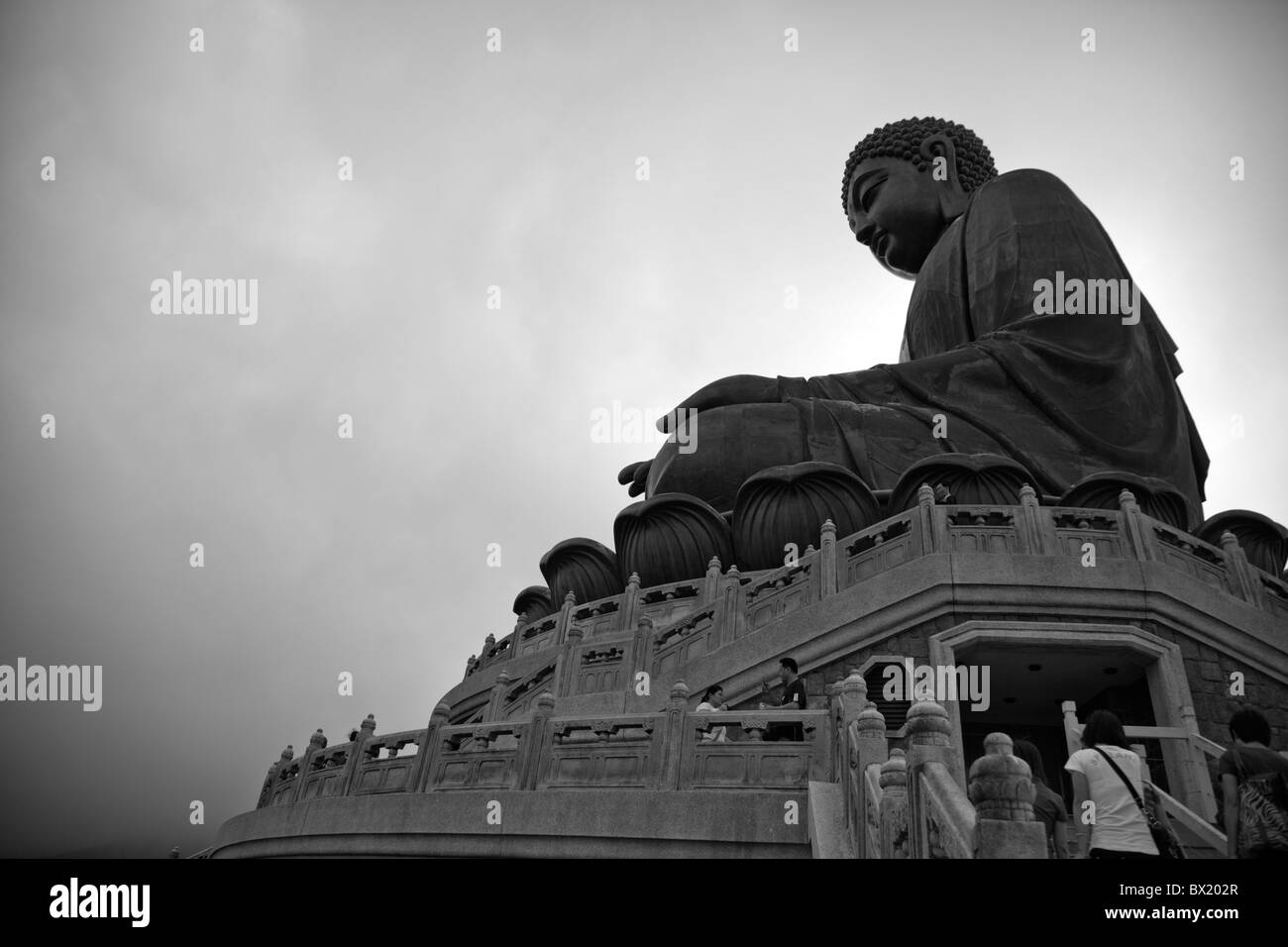 Hong Kong, Lantau island seated bronze statue the Big Buddha Lantau Buddha, Lantau Big Buddah, Lantau island, Lantau - Stock Image