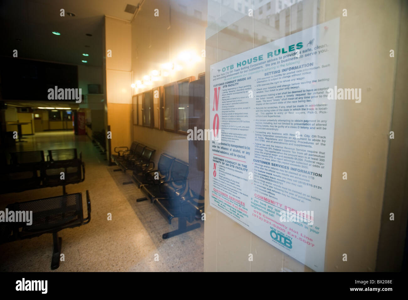 A New York State Off Track Betting parlor in Midtown Manhattan in New York - Stock Image
