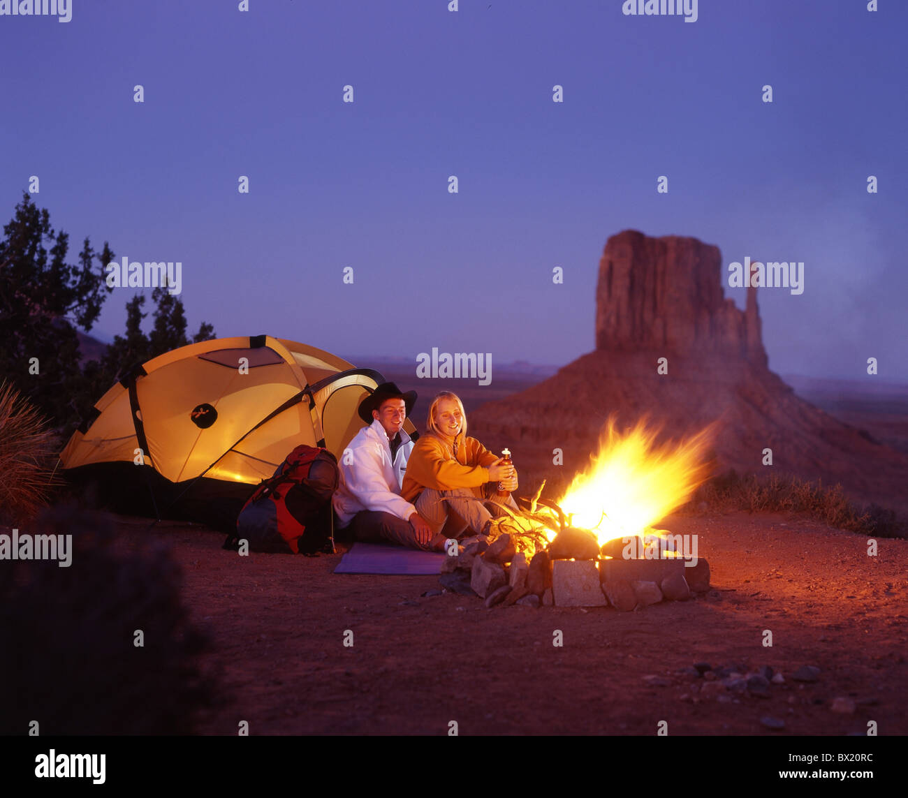 Camping Camp Tent Outside Couple Campfire Fire Fireplace Tent Stock