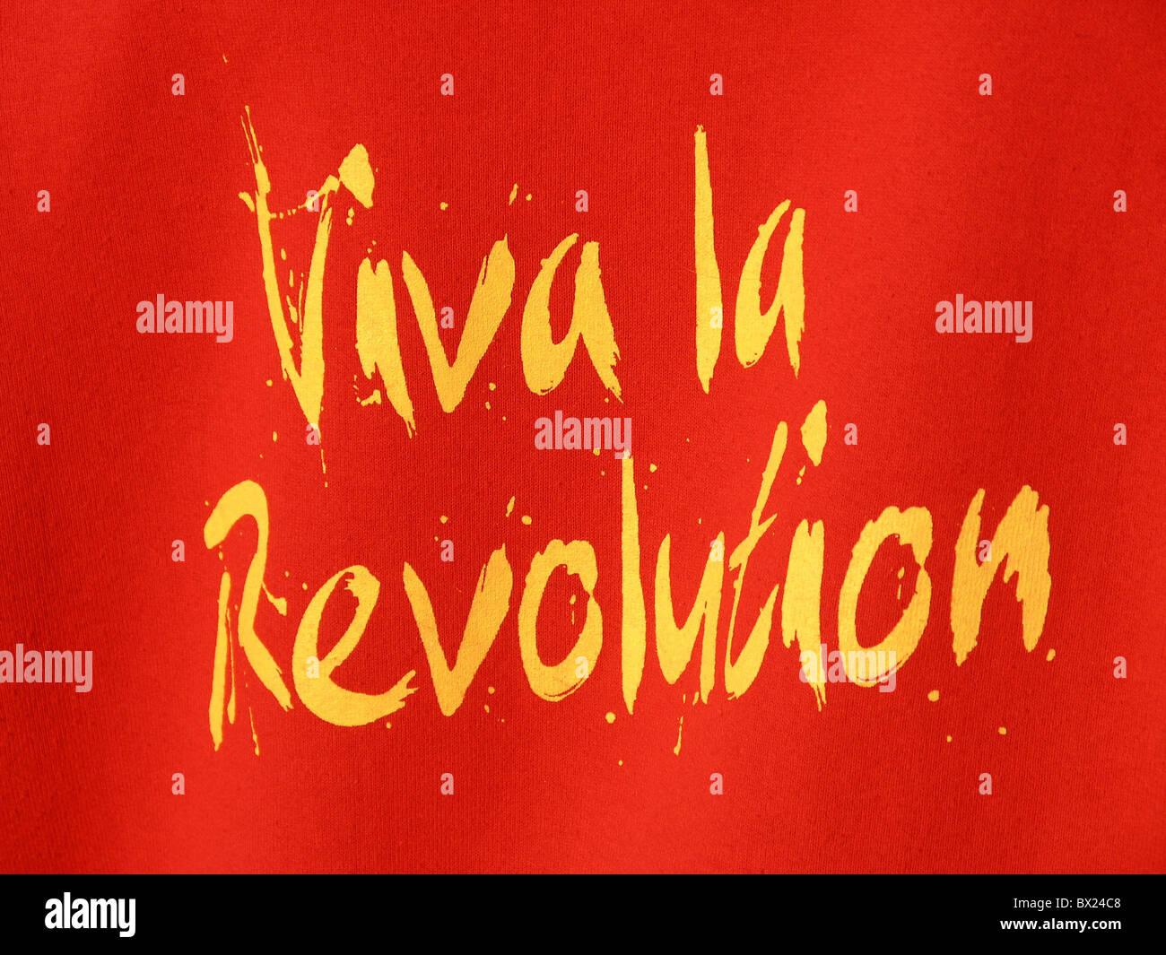 policy politics red revolt stroke symbol Viva la revolution yellow - Stock Image